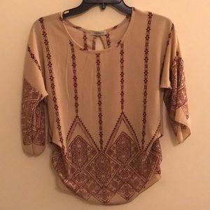 Mandala style long sleeve blouse business casual